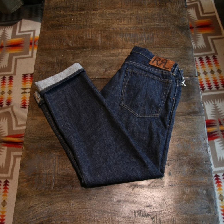 rrl slim fit selvage denim