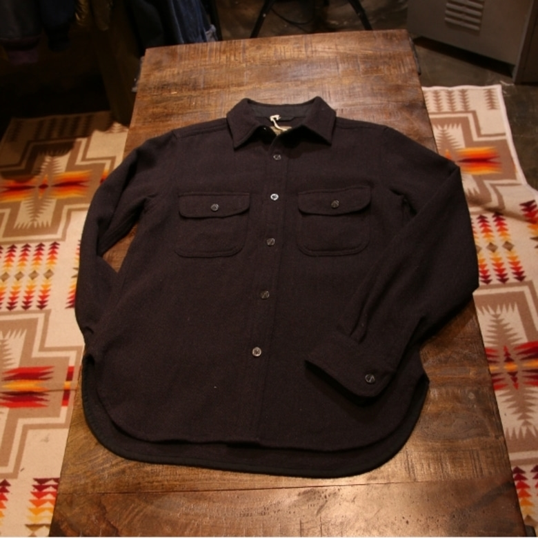 nigel cabourn navy wool shirt