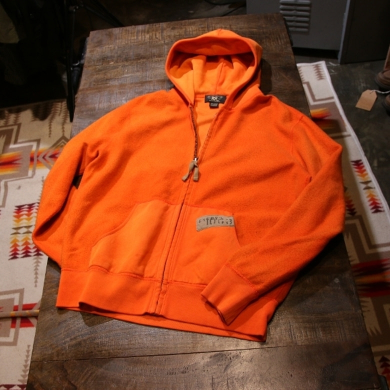 RRL reversible orange hood zipup