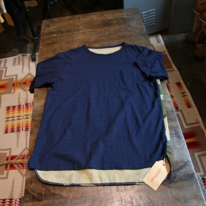 SOPHNET INDIGO BACK PANEL LONG POCKET TEE