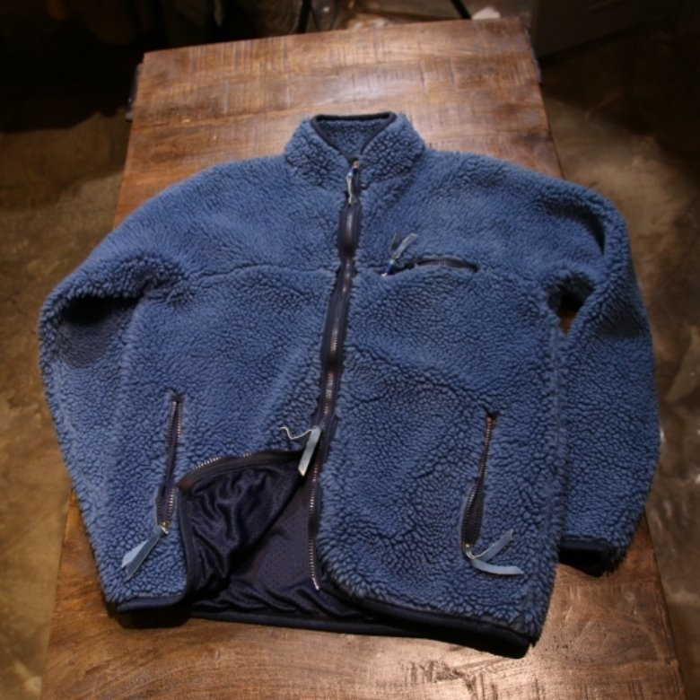 remi relief x beams plus indigo fleece jacket