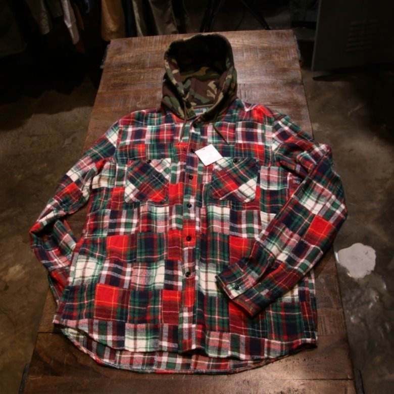 SOPHNET PATCH WORK FLANNEL CHECK HOODED SHIRT