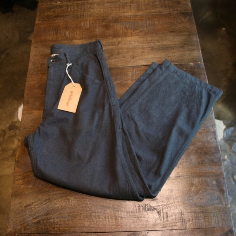 auralee silk denim wide pants