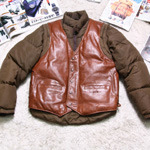 SCHOTT leather down parka