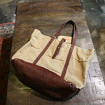 warehouse leather canvas tote bag