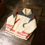 vintage ice harkey pattern cowichan sweater zip-up